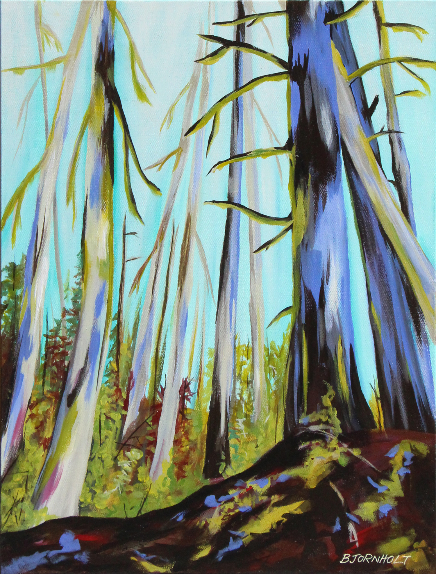 painting of a forest, looking up - main colours are mauve and turquoise